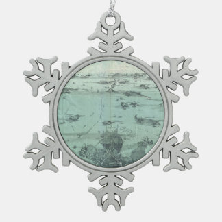 Vintage Pictorial Map of Boston Harbor (1897) Snowflake Pewter Christmas Ornament