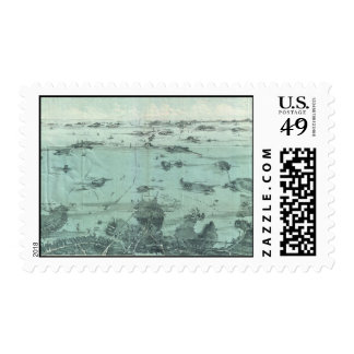 Vintage Pictorial Map of Boston Harbor (1897) Stamp