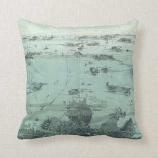 Vintage Pictorial Map of Boston Harbor (1897) Throw Pillow