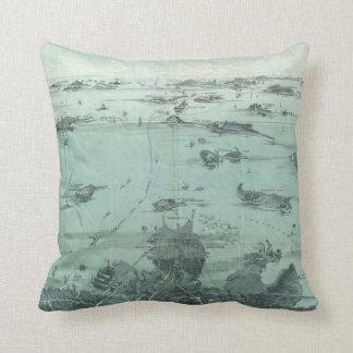 Vintage Pictorial Map of Boston Harbor (1897) Throw Pillow