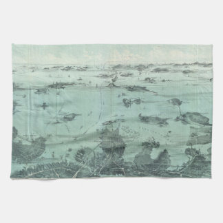 Vintage Pictorial Map of Boston Harbor (1897) Towels