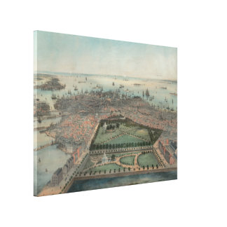 Vintage Pictorial Map of Boston MA (1850) Canvas Print