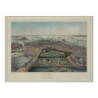 Vintage Pictorial Map of Boston MA (1850) Poster
