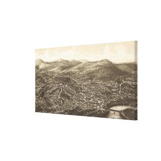 Vintage Pictorial Map of Brattleboro VT (1886) Canvas Print