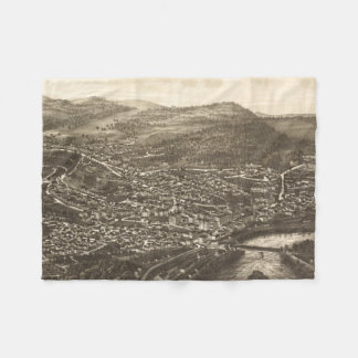 Vintage Pictorial Map of Brattleboro VT (1886) Fleece Blanket