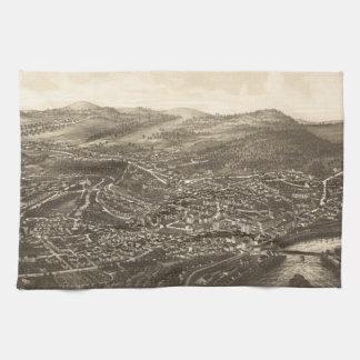 Vintage Pictorial Map of Brattleboro VT (1886) Kitchen Towel