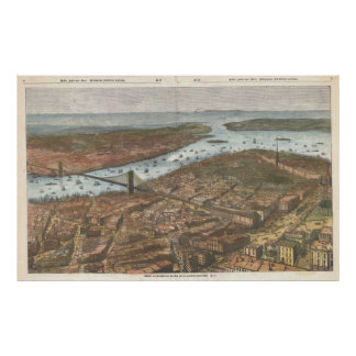 Vintage Pictorial Map of Brooklyn and NYC (1883) Print