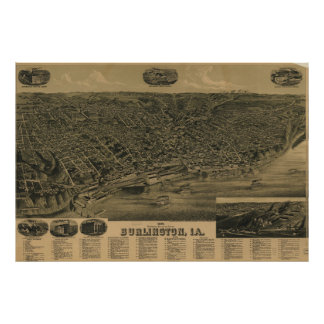 Vintage Pictorial Map of Burlington Iowa (1889) Poster
