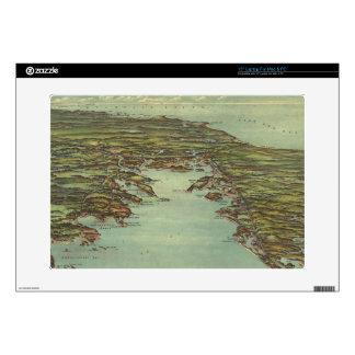 "Vintage Pictorial Map of Buzzards Bay (1907) 15"" Laptop Skin"
