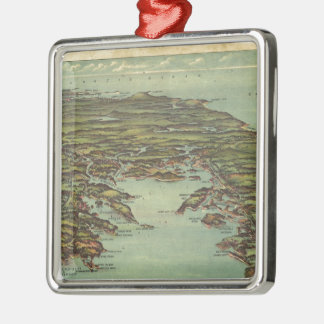Vintage Pictorial Map of Buzzards Bay (1907) Metal Ornament