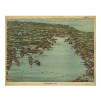 Vintage Pictorial Map of Buzzards Bay (1907) Poster
