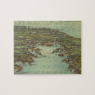 Vintage Pictorial Map of Buzzards Bay 1907 Jigsaw Puzzles
