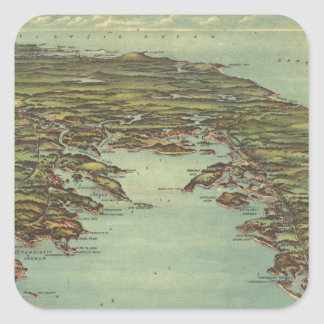 Vintage Pictorial Map of Buzzards Bay (1907) Square Sticker