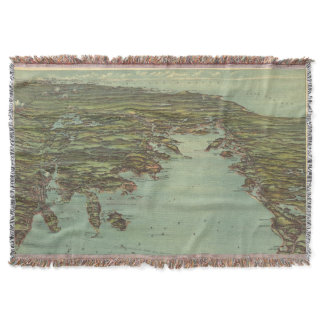 Vintage Pictorial Map of Buzzards Bay (1907) Throw Blanket