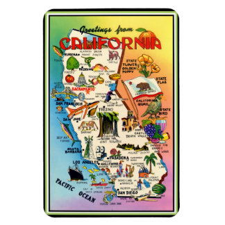 Vintage Pictorial Map of California Magnet