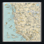 "Vintage Pictorial Map of California Stone Coaster<br><div class=""desc"">Great stone coaster featuring a vintage pictorial map of central California including Marin County,  San Francisco and the coast line of California.</div>"