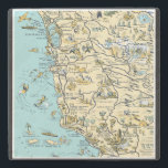 """Vintage Pictorial Map of California Stone Coaster<br><div class=""""desc"""">Great stone coaster featuring a vintage pictorial map of central California including Marin County,  San Francisco and the coast line of California.</div>"""