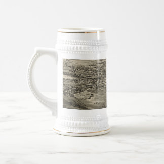 Vintage Pictorial Map of Caribou Maine (1893) Beer Stein
