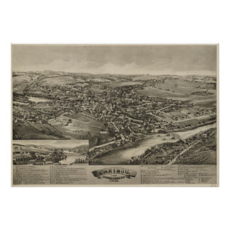 Vintage Pictorial Map of Caribou Maine (1893) Poster