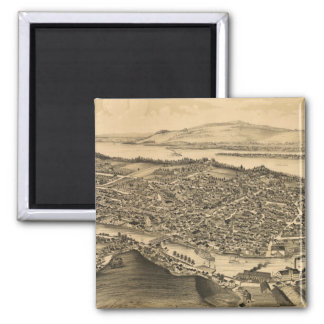 Vintage Pictorial Map of Catskill New York (1889) 2 Inch Square Magnet