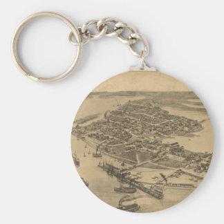 Vintage Pictorial Map of Cedar Key FL (1884) Basic Round Button Keychain