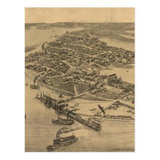 Vintage Pictorial Map of Cedar Key FL (1884) Postcard