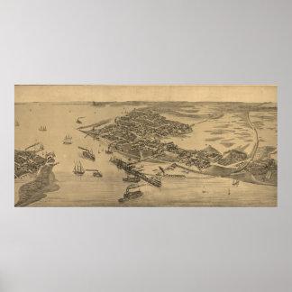 Vintage Pictorial Map of Cedar Key FL (1884) Poster