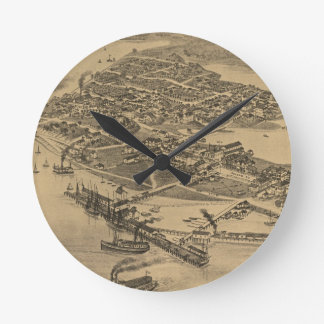 Vintage Pictorial Map of Cedar Key FL (1884) Round Clock