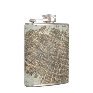 Vintage Pictorial Map of Charleston (1872) Flask