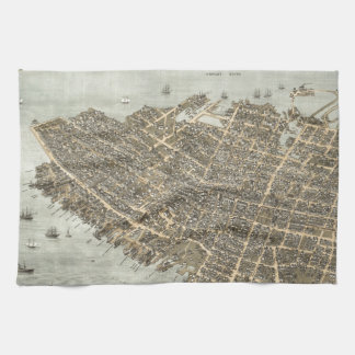 Vintage Pictorial Map of Charleston (1872) Kitchen Towels