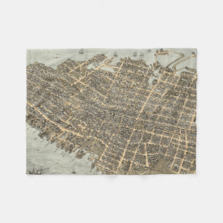 Vintage Pictorial Map of Charleston (1872) Fleece Blanket