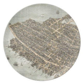 Vintage Pictorial Map of Charleston (1872) Melamine Plate