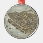 Vintage Pictorial Map of Charleston (1872) Metal Ornament