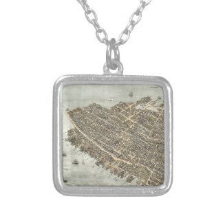 Vintage Pictorial Map of Charleston (1872) Square Pendant Necklace