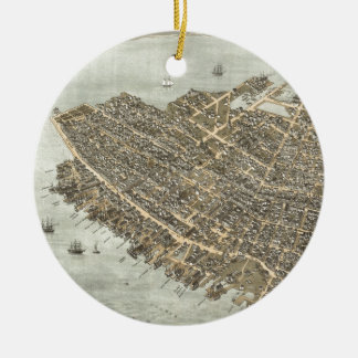 Vintage Pictorial Map of Charleston (1872) Double-Sided Ceramic Round Christmas Ornament