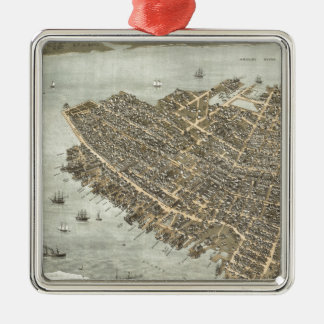 Vintage Pictorial Map of Charleston (1872) Square Metal Christmas Ornament