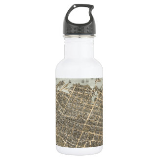 Vintage Pictorial Map of Charleston (1872) 18oz Water Bottle