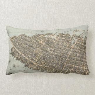 Vintage Pictorial Map of Charleston (1872) Throw Pillows
