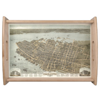 Vintage Pictorial Map of Charleston (1872) Food Tray