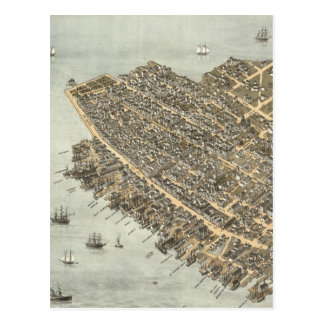 Vintage Pictorial Map of Charleston (1872) Post Card