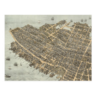 Vintage Pictorial Map of Charleston (1872) Postcard