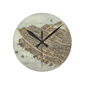 Vintage Pictorial Map of Charleston (1872) Round Clock