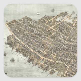 Vintage Pictorial Map of Charleston (1872) Square Sticker
