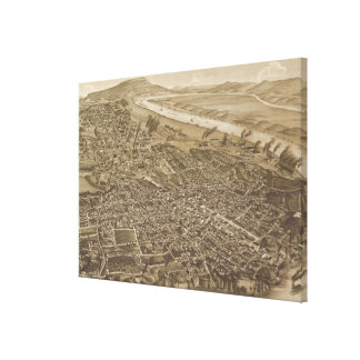 Vintage Pictorial Map of Chattanooga (1886) Stretched Canvas Prints