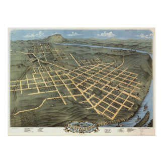 Vintage Pictorial Map of Chattanooga TN (1871) Poster