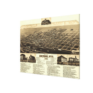 Vintage Pictorial Map of Cheyenne Wyoming (1882) Canvas Print