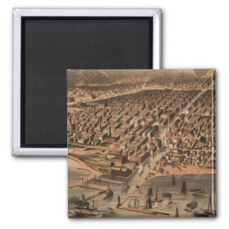 Vintage Pictorial Map of Chicago (1871)(2) Magnet