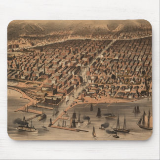 Vintage Pictorial Map of Chicago (1871)(2) Mouse Pad
