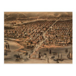 Vintage Pictorial Map of Chicago (1871)(2) Postcard