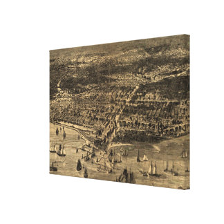 Vintage Pictorial Map of Chicago (1871) Canvas Print